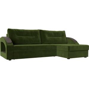 Угловой диван Лига Диванов Канзас микровельвет зеленый правый угол угловой диван лига диванов форсайт микровельвет зеленый правый угол
