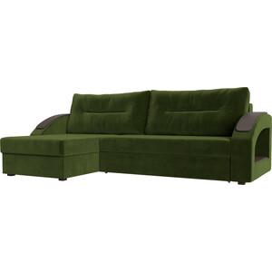 Угловой диван Лига Диванов Канзас микровельвет зеленый левый угол