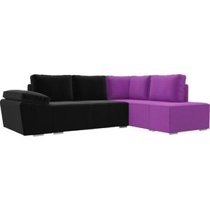 Угловой диван Лига Диванов Хавьер микровельвет черный/фиолетовый правый угол угловой диван лига диванов хавьер микровельвет черный фиолетовый правый угол