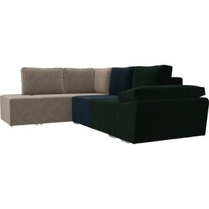 Угловой диван Лига Диванов Хавьер велюр зеленый/синий/бежевый левый угол модуль лига диванов холидей раскладной диван велюр зеленый