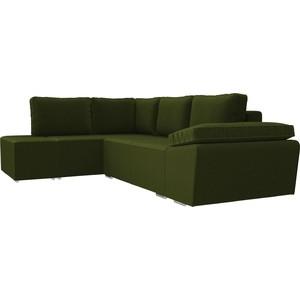 Угловой диван Лига Диванов Хавьер микровельвет зеленый левый угол