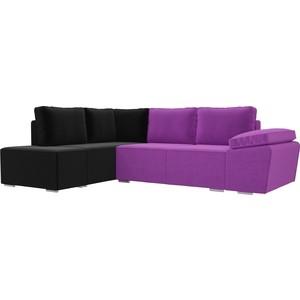 Угловой диван Лига Диванов Хавьер микровельвет фиолетовый/черный левый угол угловой диван лига диванов хавьер микровельвет черный фиолетовый правый угол
