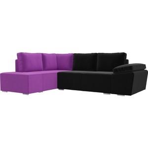 Угловой диван Лига Диванов Хавьер микровельвет черный/фиолетовый левый угол угловой диван лига диванов хавьер микровельвет черный фиолетовый правый угол