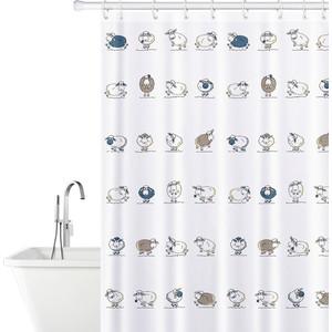 Штора для ванной комнаты Tatkraft FUNNY SHEEP TEXTILE тканевая со специальной водоотталкивающей пропиткой и антигрибковым покрытием (14862)
