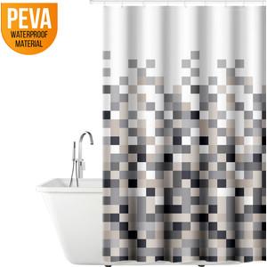 Штора для ванной комнаты Tatkraft MOSAIC, водонепроницаемый материал PEVA, магниты-утяжелители лучшей фиксации, 12 шт овальных колец (18181)