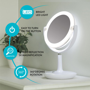 Зеркало Tatkraft VALGE косметическое двухстороннее с подсветкой LED, диаметр 16 см, 23,5 х 17,2 x 34,8 см (20535) зеркало tatkraft valge косметическое двухстороннее с подсветкой led диаметр 16 см 23 5 х 17 2 x 34 8 см 20535