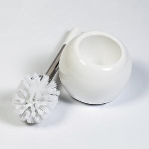 Гарнитур для туалета Tatkraft TERRA, глазурованная керамика/нержавеющая сталь белый, 38 см (15036)
