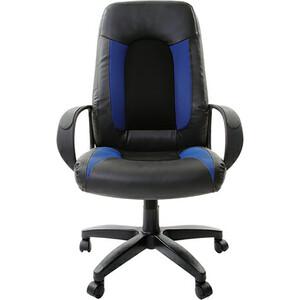Кресло офисное Brabix Strike EX-525 экокожа черная, ткань черная/синяя TW 531380 кресло офисное brabix strike ex 525 экокожа черная ткань черная tw 531381