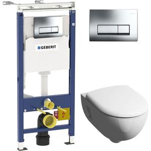 Комплект Geberit Renova Premium Rimfree, унитаз с сиденьем микролифт, инсталляция, кнопка (458.125.21.1-20307) фото