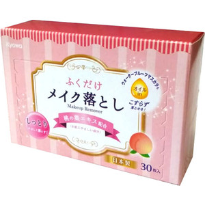Влажные салфетки Kyowa для снятия макияжа с экстрактом листьев персика, 30 шт в коробке фото