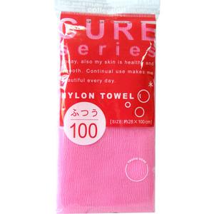 Мочалка для тела OHE CURE series средней жесткости, 100 см розовая мочалка для тела azur 10 80 см