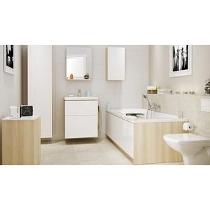Мебель для ванной Cersanit Smart 60 корпус ясень, фасад белый, с ящиками мебель ясень