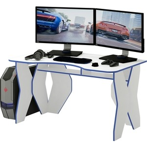 Стол компьютерный Мастер Таунт (белый/синий) МСТ-СКТ-БТ-СН-16