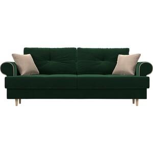 Прямой диван Лига Диванов Сплин велюр зеленый подушки бежевые подушки