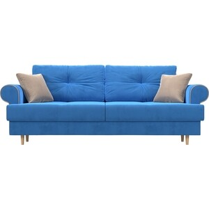 Прямой диван Лига Диванов Сплин велюр синий подушки бежевые подушки