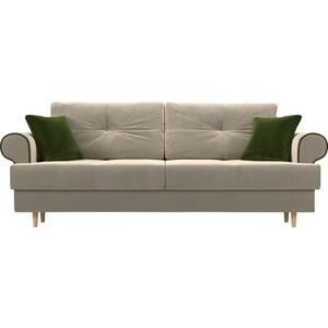 Прямой диван Лига Диванов Сплин микровельвет бежевый подушки зеленые