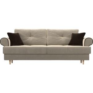 цены Прямой диван Лига Диванов Сплин микровельвет бежевый подушки коричневые