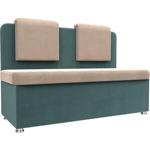 Кухонный прямой диван АртМебель Маккон 2-х местный велюр бежевый/бирюза