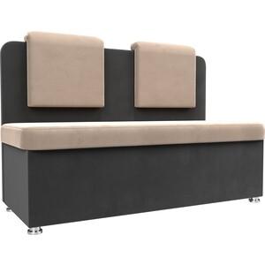 Кухонный прямой диван АртМебель Маккон 2-х местный велюр бежевый/серый