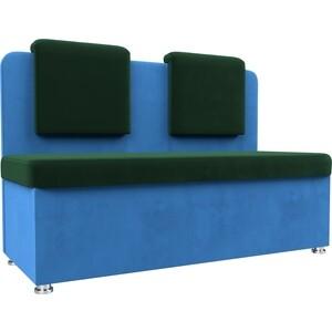 Кухонный прямой диван АртМебель Маккон 2-х местный велюр зеленый/синий