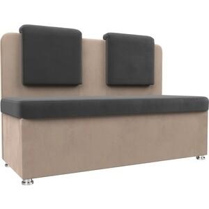 Кухонный прямой диван АртМебель Маккон 2-х местный велюр серый/бежевый диван 2 х местный secret de maison бронко bronco 1193 2 х местный из натуральной кожи доступные цвета античный тёмный