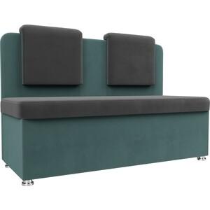 Кухонный прямой диван АртМебель Маккон 2-х местный велюр серый/бирюза