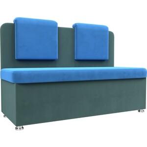 Кухонный прямой диван АртМебель Маккон 2-х местный велюр синий/бирюза