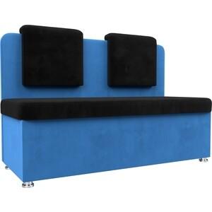 Кухонный прямой диван АртМебель Маккон 2-х местный велюр черный/синий диван 2 х местный secret de maison бронко bronco 1193 2 х местный из натуральной кожи доступные цвета античный тёмный