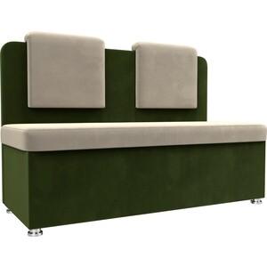 Кухонный прямой диван АртМебель Маккон 2-х местный микровельвет бежевый/зеленый