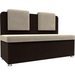 Кухонный прямой диван АртМебель Маккон 2-х местный микровельвет бежевый/коричневый
