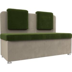 Кухонный прямой диван АртМебель Маккон 2-х местный микровельвет зеленый/бежевый