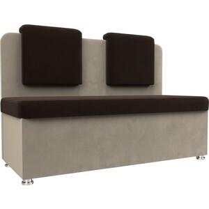 Кухонный прямой диван АртМебель Маккон 2-х местный микровельвет коричневый/бежевый