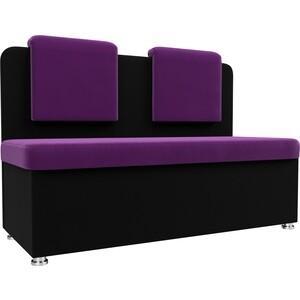 Кухонный прямой диван АртМебель Маккон 2-х местный микровельвет фиолетовый/черный диван 2 х местный secret de maison бронко bronco 1193 2 х местный из натуральной кожи доступные цвета античный тёмный