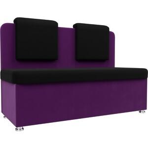 Кухонный прямой диван АртМебель Маккон 2-х местный микровельвет черный/фиолетовый