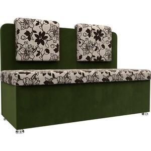 Кухонный прямой диван АртМебель Маккон 2-х местный рогожка на флоке вельвет зеленый