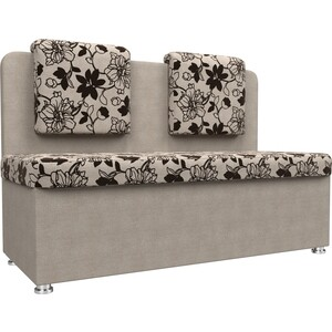 Кухонный прямой диван АртМебель Маккон 2-х местный рогожка на флоке бежевый