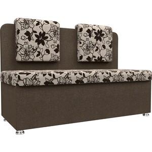 Кухонный прямой диван АртМебель Маккон 2-х местный рогожка на флоке коричневый