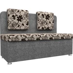 Кухонный прямой диван АртМебель Маккон 2-х местный рогожка на флоке серый