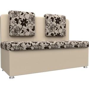 Кухонный прямой диван АртМебель Маккон 2-х местный рогожка на флоке экокожа бежевый коляска rudis solo 2 в 1 бежевый рогожка gl000338127 492570
