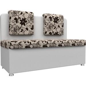 Кухонный прямой диван АртМебель Маккон 2-х местный рогожка на флоке экокожа белый
