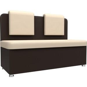 Кухонный прямой диван АртМебель Маккон 2-х местный экокожа бежевый/коричневый