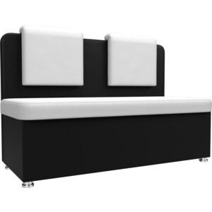 Кухонный прямой диван АртМебель Маккон 2-х местный экокожа белый/черный