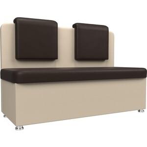 Кухонный прямой диван АртМебель Маккон 2-х местный экокожа коричневый/бежевый диван 2 х местный secret de maison бронко bronco 1193 2 х местный из натуральной кожи доступные цвета античный тёмный