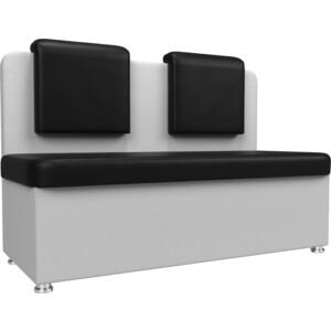 Кухонный прямой диван АртМебель Маккон 2-х местный экокожа черный/белый