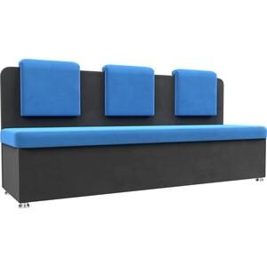 цена на Кухонный прямой диван АртМебель Маккон 3-х местный велюр синий/серый
