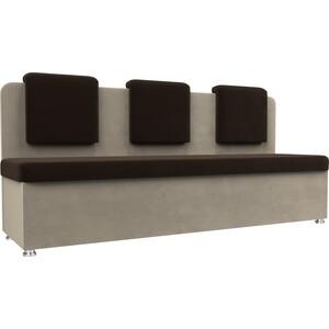 Кухонный прямой диван АртМебель Маккон 3-х местный микровельвет коричневый/бежевый
