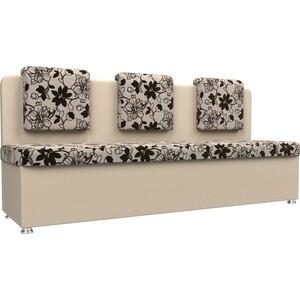 Кухонный прямой диван АртМебель Маккон 3-х местный рогожка на флоке экокожа бежевый фото