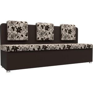 Кухонный прямой диван АртМебель Маккон 3-х местный рогожка на флоке экокожа коричневый