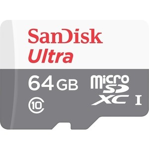 Карта памяти Sandisk Ultra Android microSDXC + SD Adapter 64GB 80MB/s Class 10 UHS-I (SDSQUNS-064G-GN3MA)