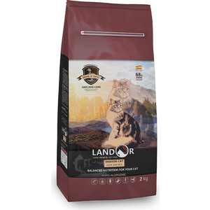 Сухой корм LANDOR Indoor Cat Duck and Rice гипоаллергенный с уткой и рисом для кошек 2кг